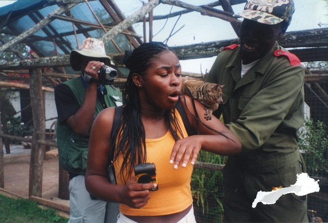Nyeema Harris with a bushbaby on her shoulder
