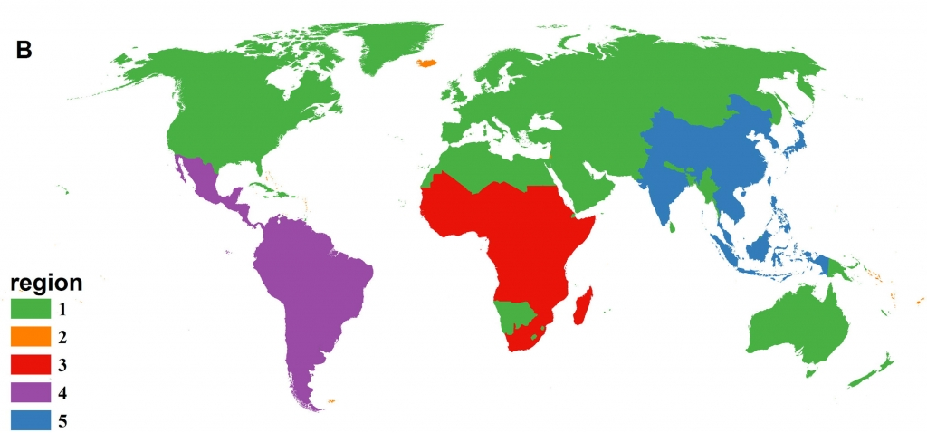 Map showing the five biogeographic regions identified by Just and his colleagues for 208 non-vector-borne disease (e.g.  Cholera, typhoid) (From Just et al. 2014)
