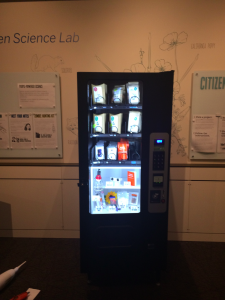 Image of a vending machine containing citizen science kits.
