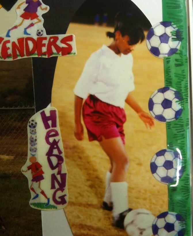 De Anna playing soccer